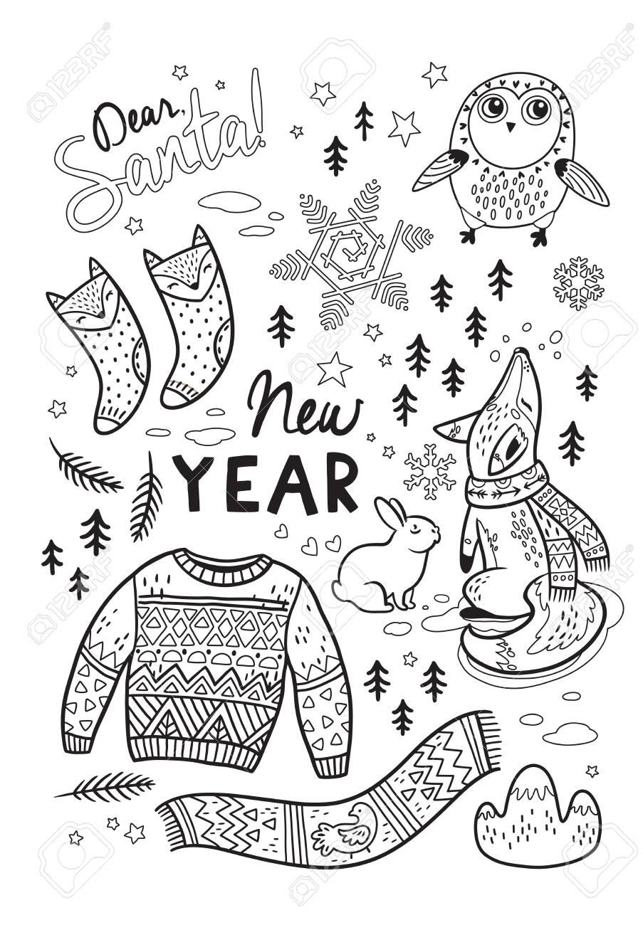 Querido Santa. Tarjeta De Año Nuevo Con Elementos De Invierno Y ...