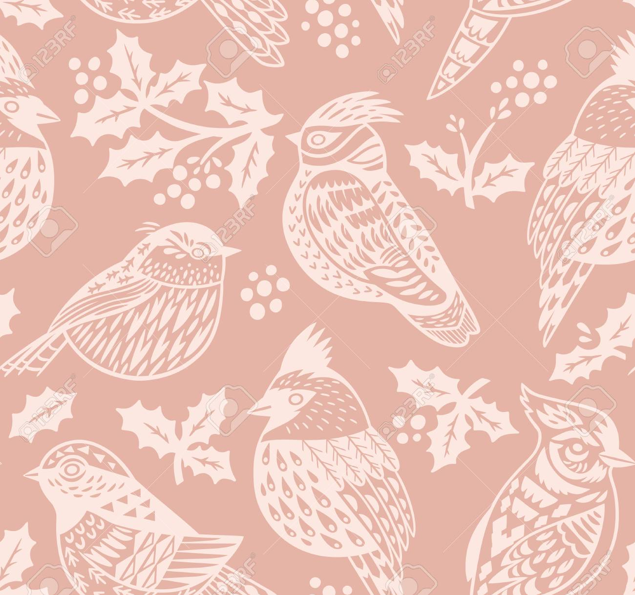 92656898 vintage seamless christmas pattern with ornamental birds and mistletoe in pastel colors perfect for