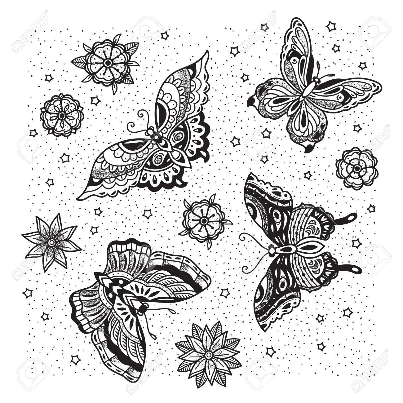 ce8427396 Collection of butterfly and flower tattoo in old school style. Stock Vector  - 93233681