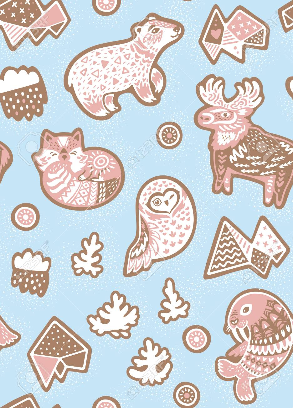 Holiday Seamless Pattern With Ginger Cookies North Pole Animals