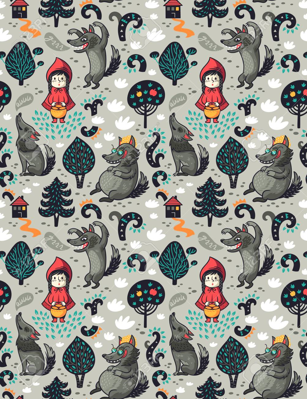 Little red riding hood seamless pattern and gray hungry wolf in the forest. Fairytale imagination background. - 95928256