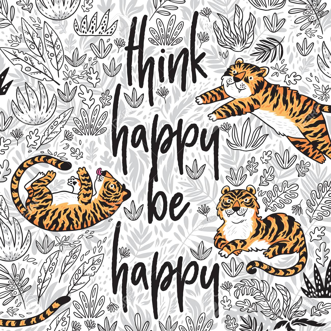 Think Happy Be Happy Quote Contour Floral Print With Cartoon