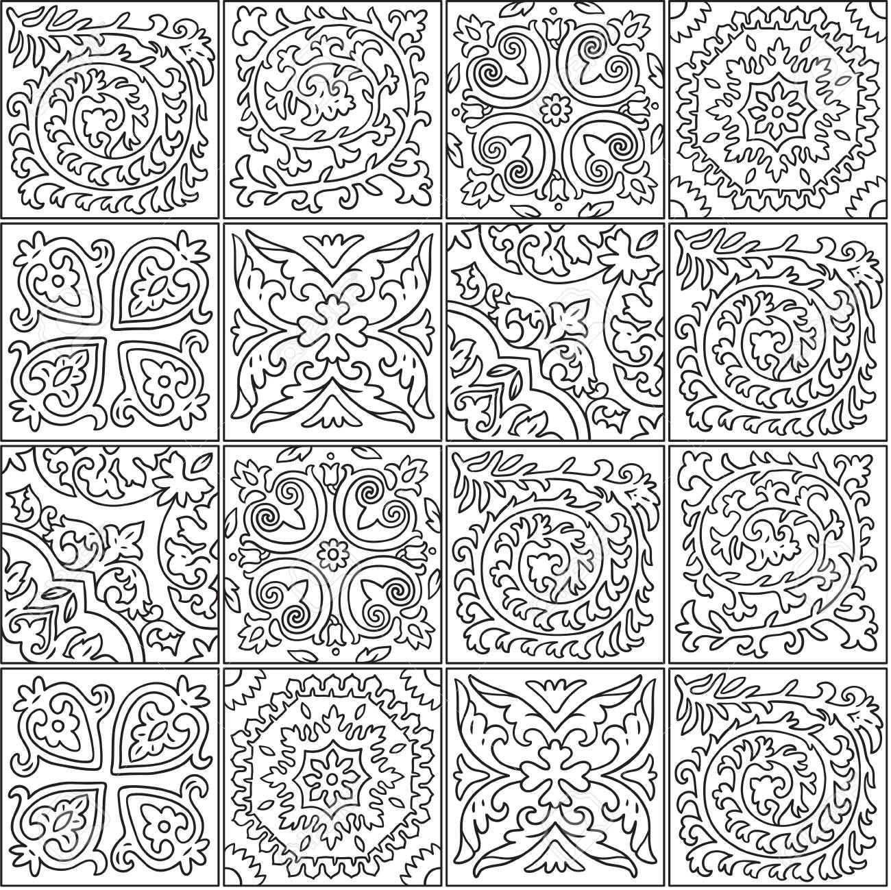 Black And White Morocco Mosaic Design Abstract Ornamental Tile