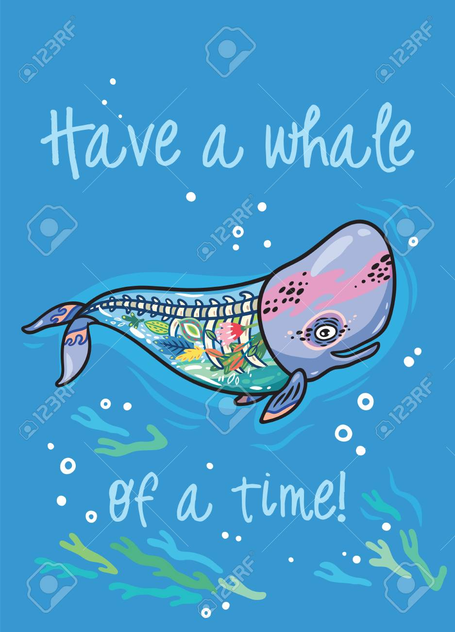 Have A Whale Of A Time. Floral Anatomy Whale In Cartoon Style. Stock ...
