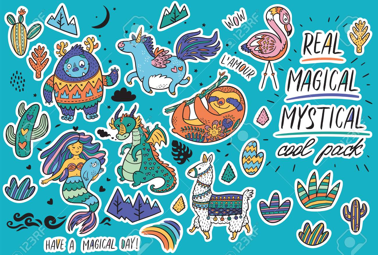 Vector sticker set with real, magical and mystical animals. Yeti and unicorn, dragon, mermaid, llama and sloth in cartoon style. Perfect for stickers, pin, icons - 105804404