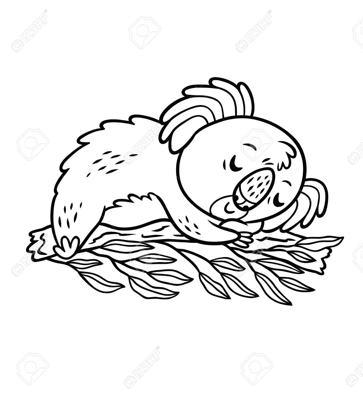 Koala Relaxing In A Tree Black And White Vector Illustration