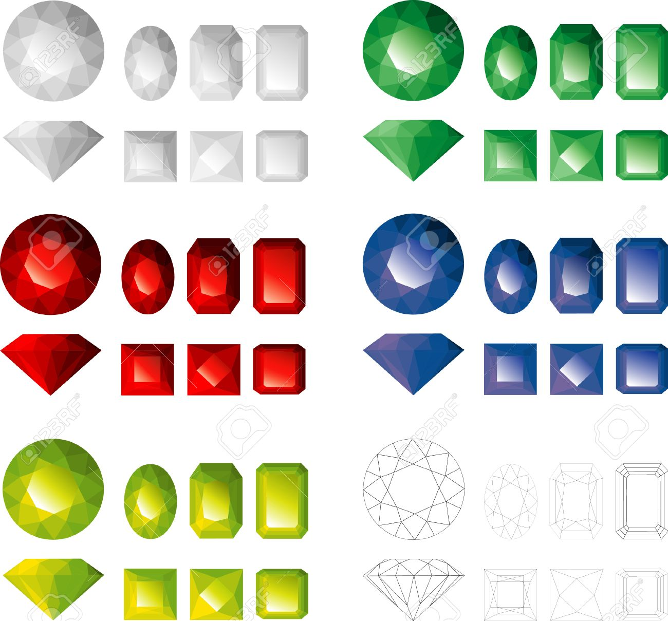 Jems of different colours and facet types - 4228716