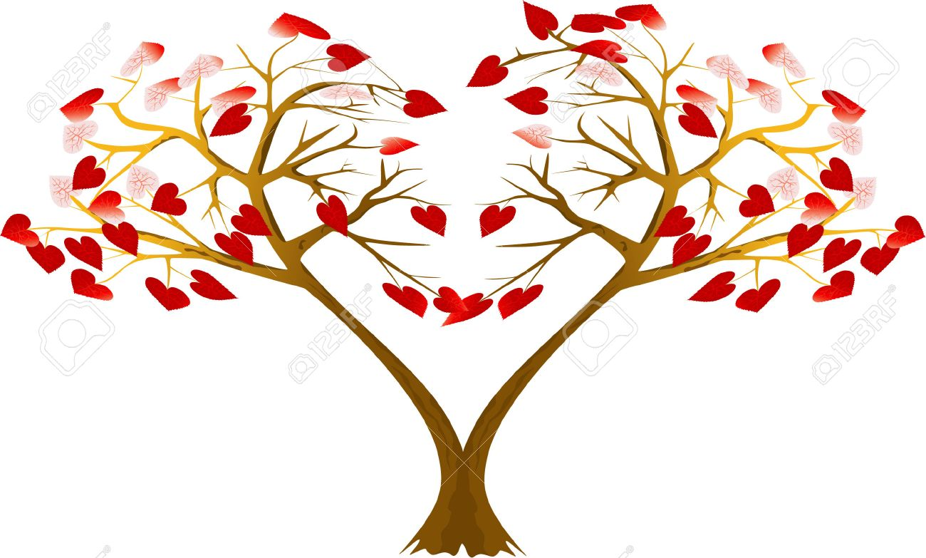 Two Trees With Hearts Are Bent To Each Other Royalty Free Cliparts Vectors And Stock Illustration Image 4263953