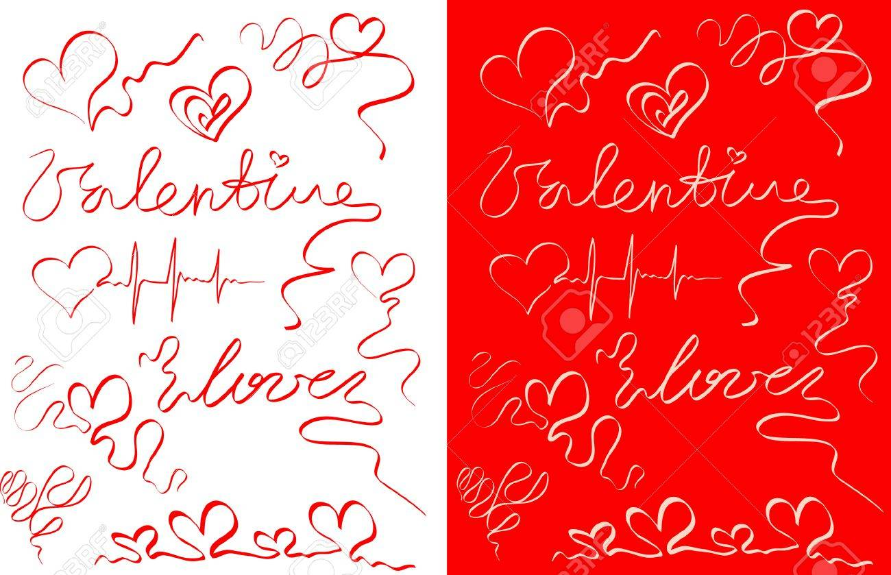 Ornamental hearts and inscriptions of white and red colours - 4263960