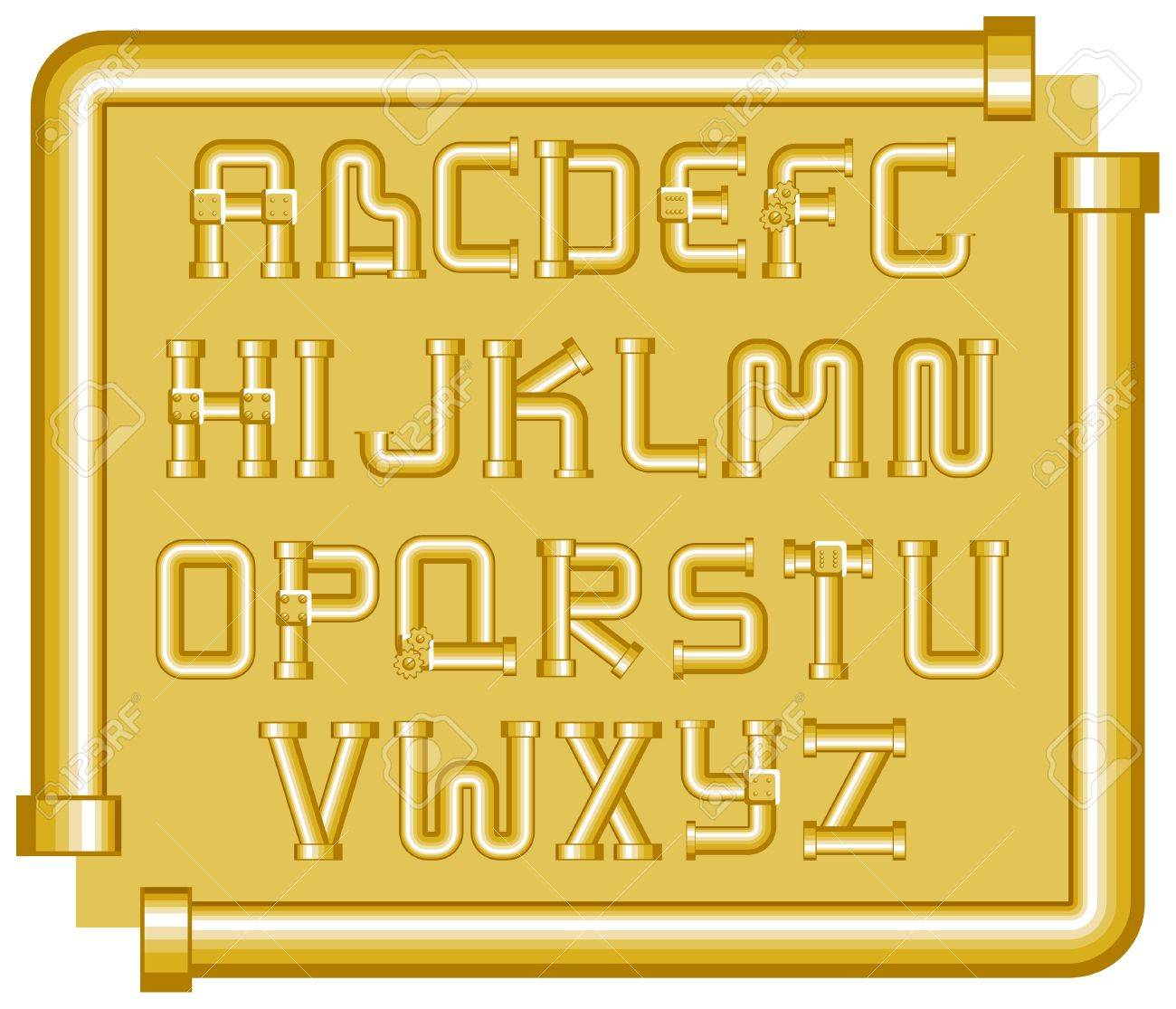 golden funnels alphabet on a yellow background Stock Vector - 9214416