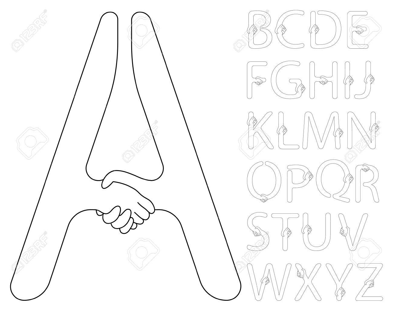 Vector contour handshake alphabet of black and white colors Stock Vector - 9323731