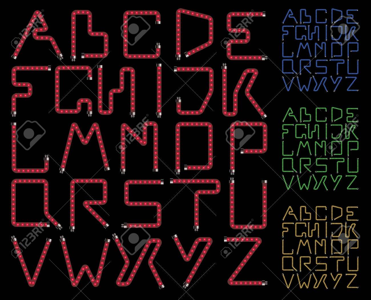 neon lamps alphabet on a black background Stock Photo - 9355355