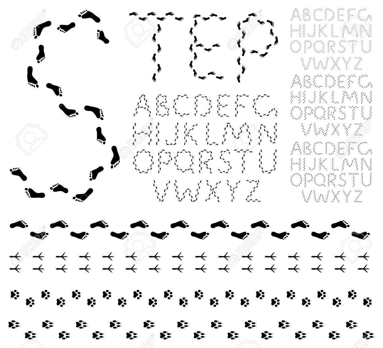 Footprint alphabet Stock Vector - 11104532