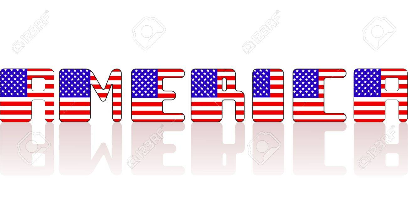 Vector Usa Flagge Brief Inschrift Auf Weißem Hintergrund Lizenzfrei