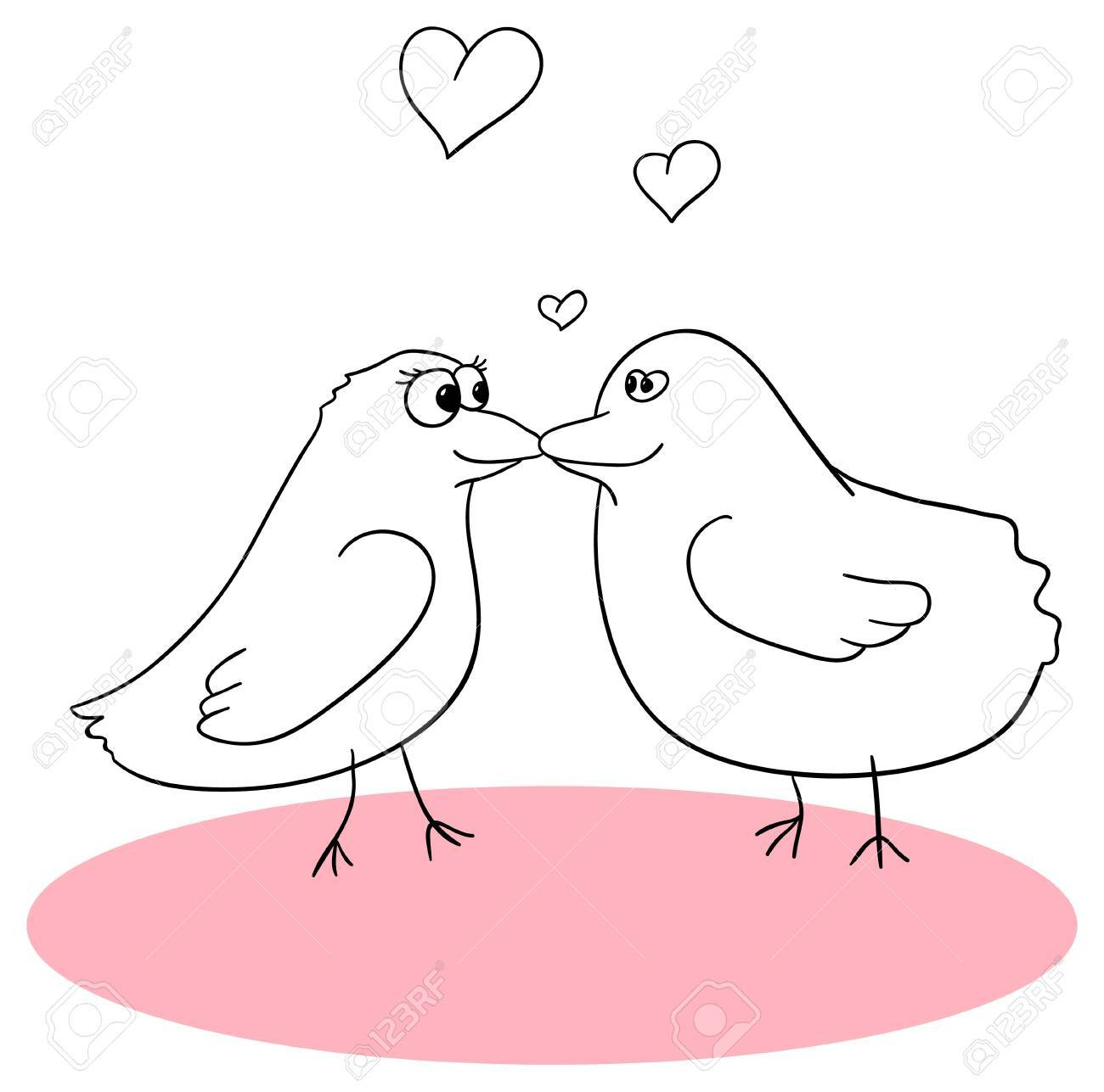kissing birds is isolated on a white background Stock Vector - 14039536