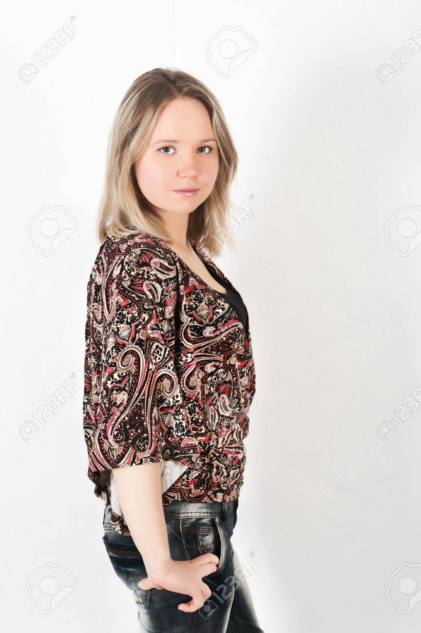 portrait of a beautiful young girl on a white background Stock Photo - 8752794
