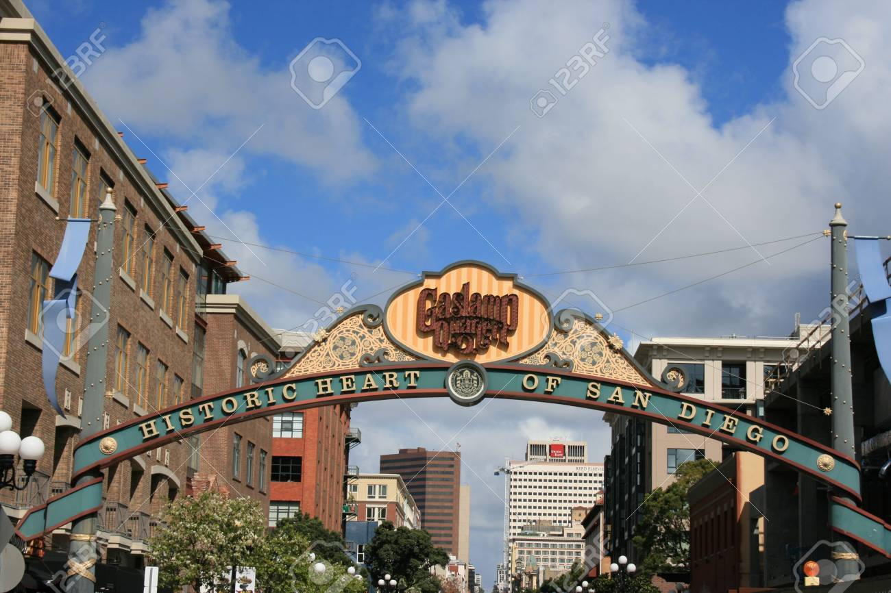 Sign At The Entrance To San Diegou0027s Gaslamp District Stock Photo   802305