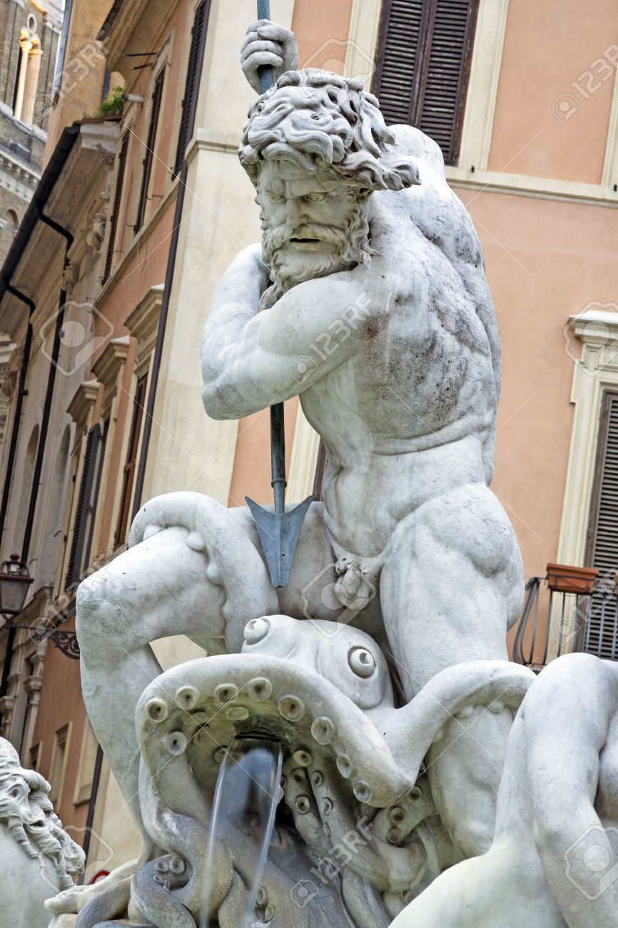 Detail Of Poseidon Statue And Fountain Piazza Navona Rome