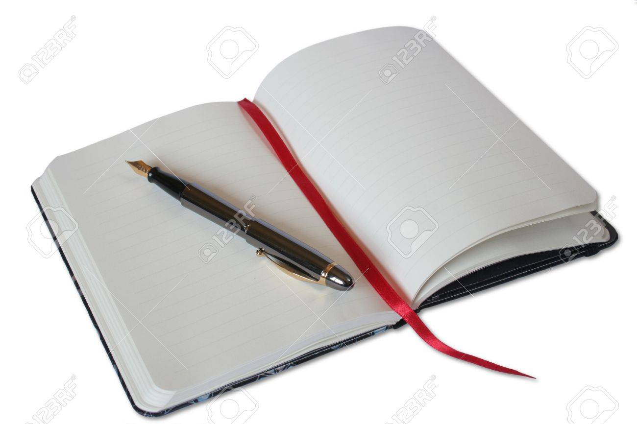 Notebook and pen on white background Stock Photo - 471881