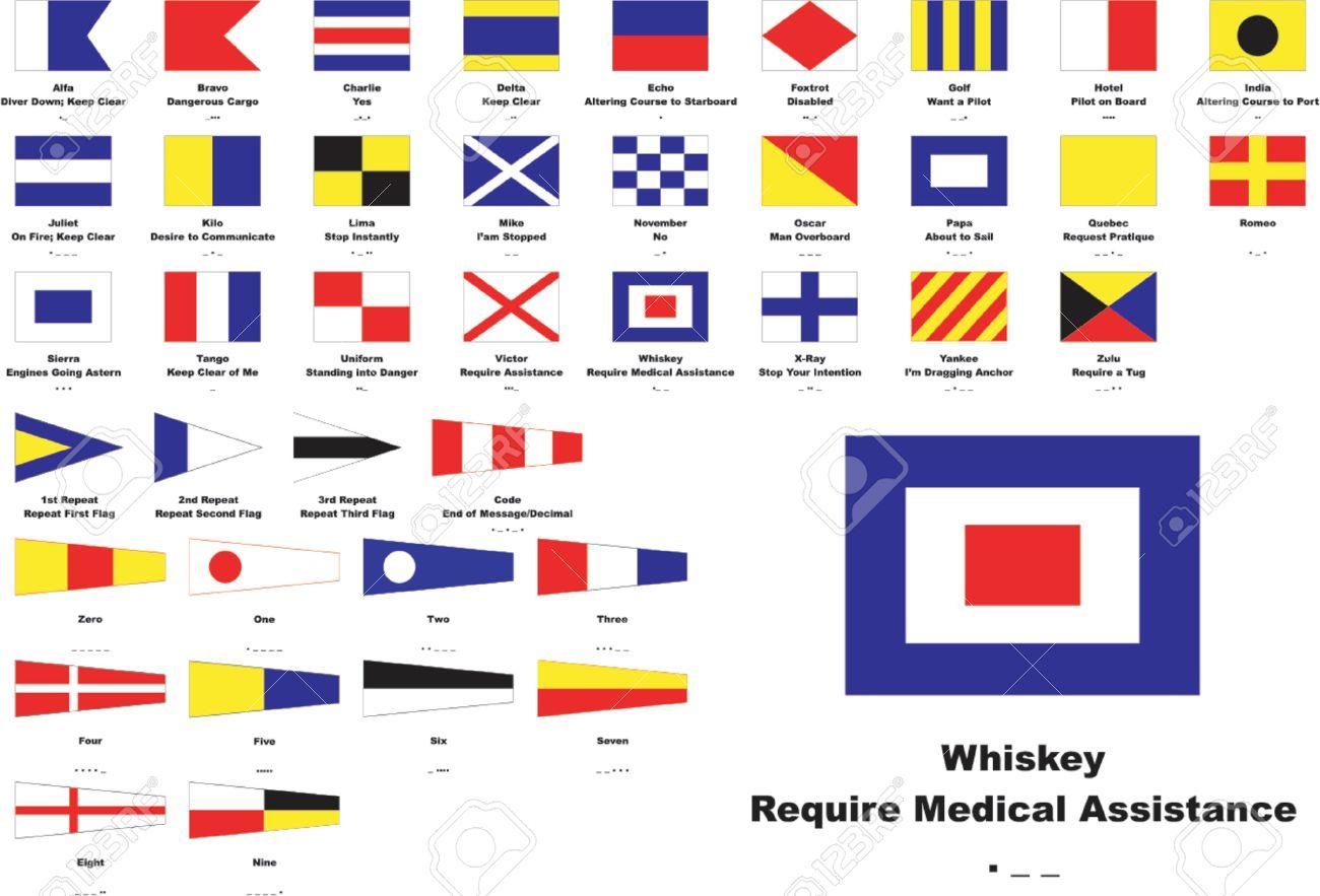 4970307f6 Código Internacional de Signs Flags Names Nautical significado y Morse  Code See muestra más grande en tamaño Foto de archivo