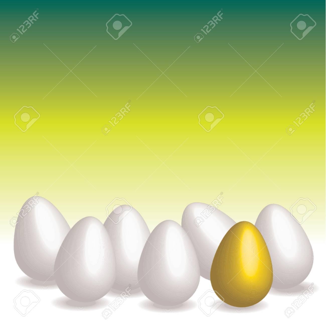 Easter eggs. Golden egg over green gradient background Stock Vector - 709331