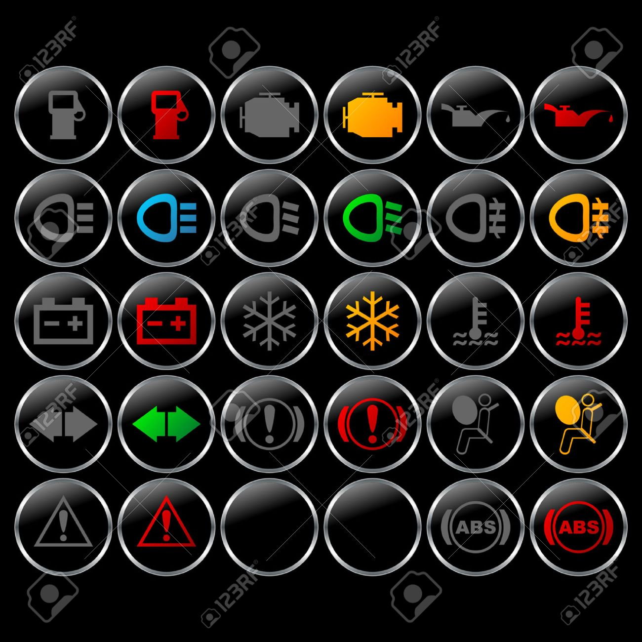 Different Car Dashboard Symbols With Lights On And Off Royalty Free ...