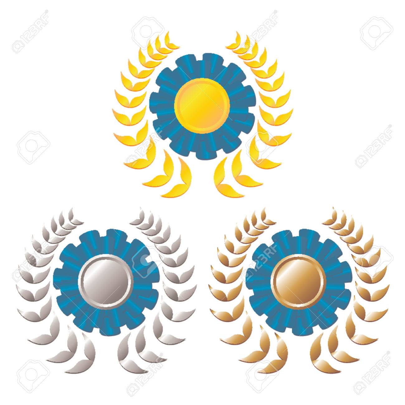 Set of award blue rosettes with gold, silver and bronze medals on the middle and laurel wreath around over white background Stock Vector - 964367