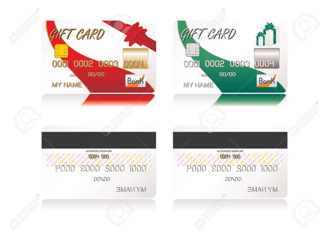 Different gift credit cards isolated over white background Stock Vector - 1326240