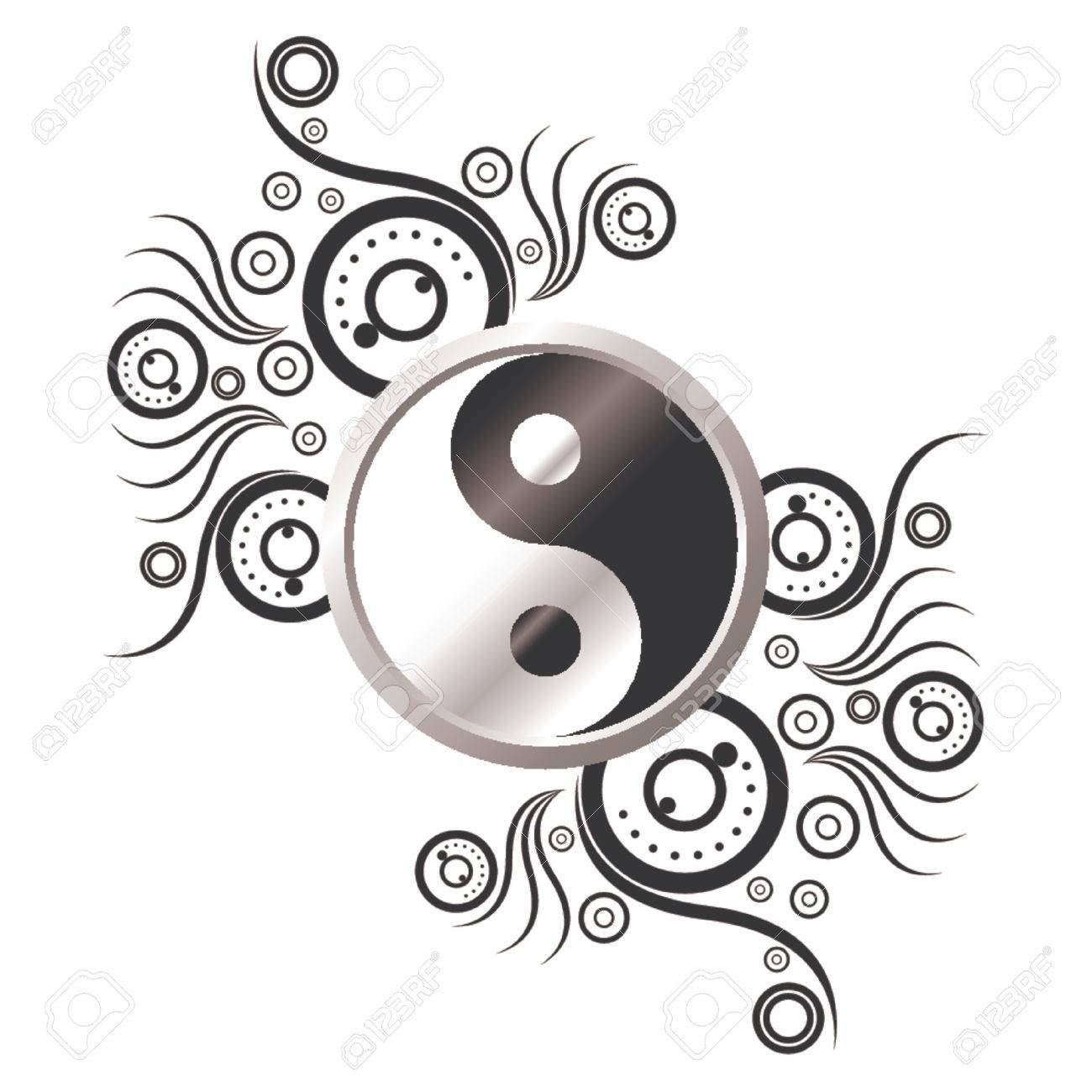 Yin and Yang symbol ornamented with abstract pattern over white background - 1326242