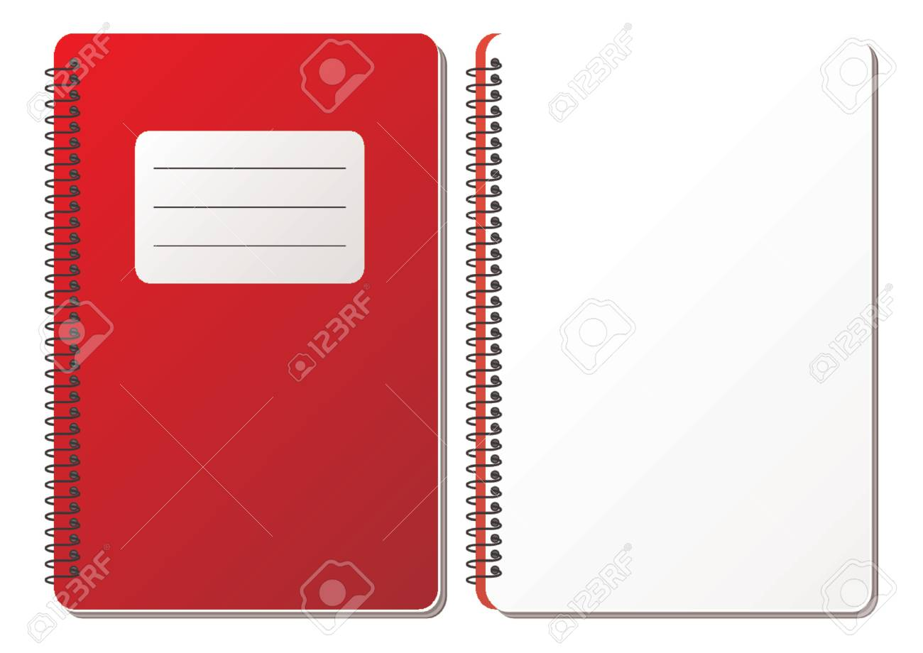 Opened and closed spiral notebook with blank sheet over white background Stock Vector - 1326245