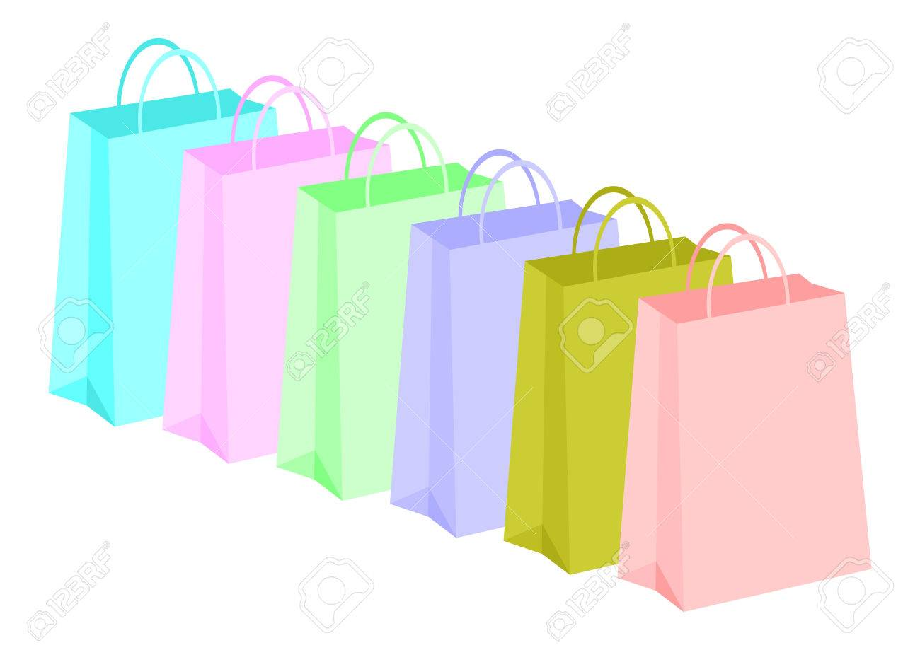 Shopping bags row with different colors over white background Stock Vector - 1471212