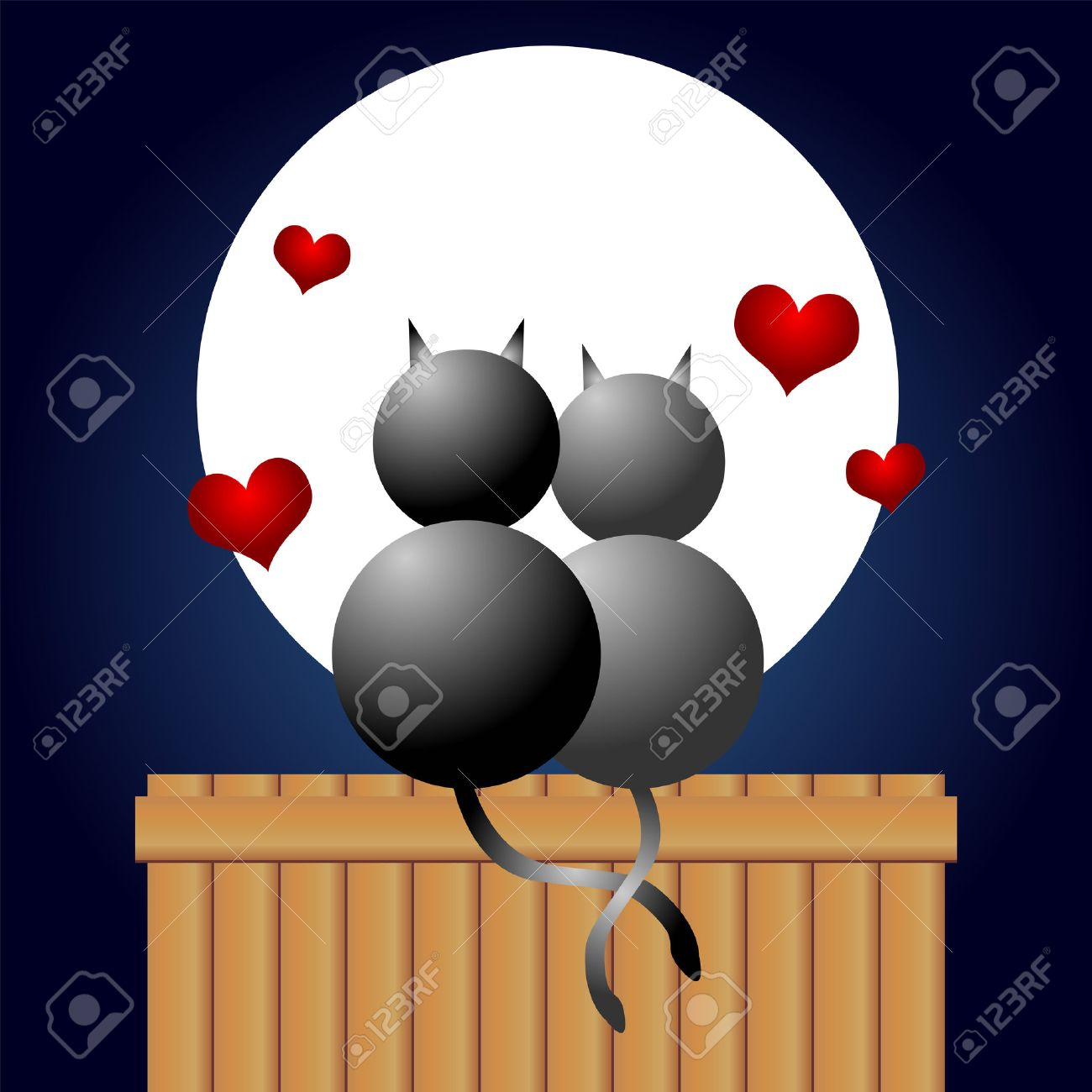 Couple of cats in love under the moonlight Stock Vector - 1788725