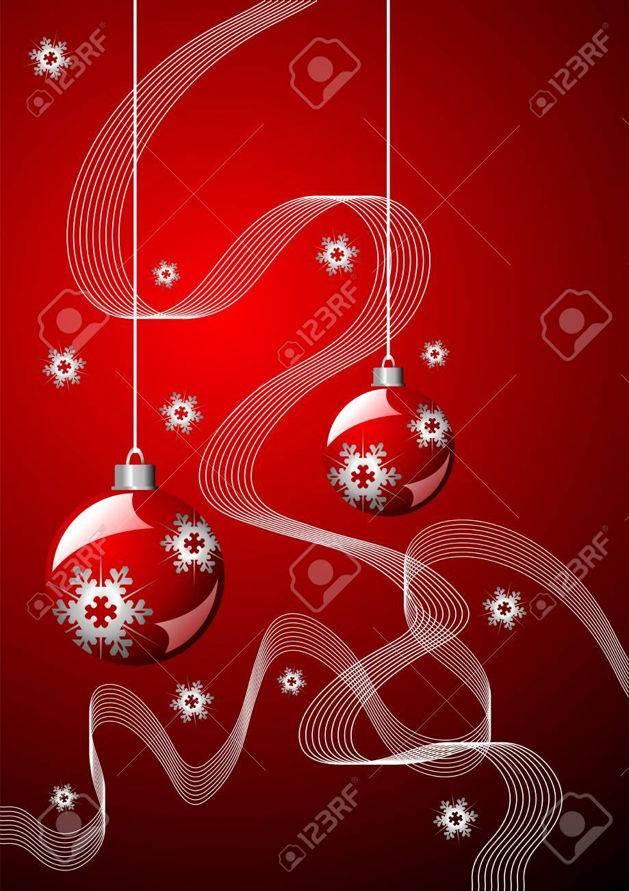 Snow crystals ribbons and Christmas balls over red Stock Vector - 2137979