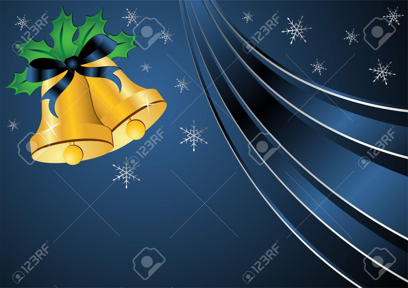 best foto de archivo las campanas de navidad decorado con el acebo y la cinta sobre fondo azul