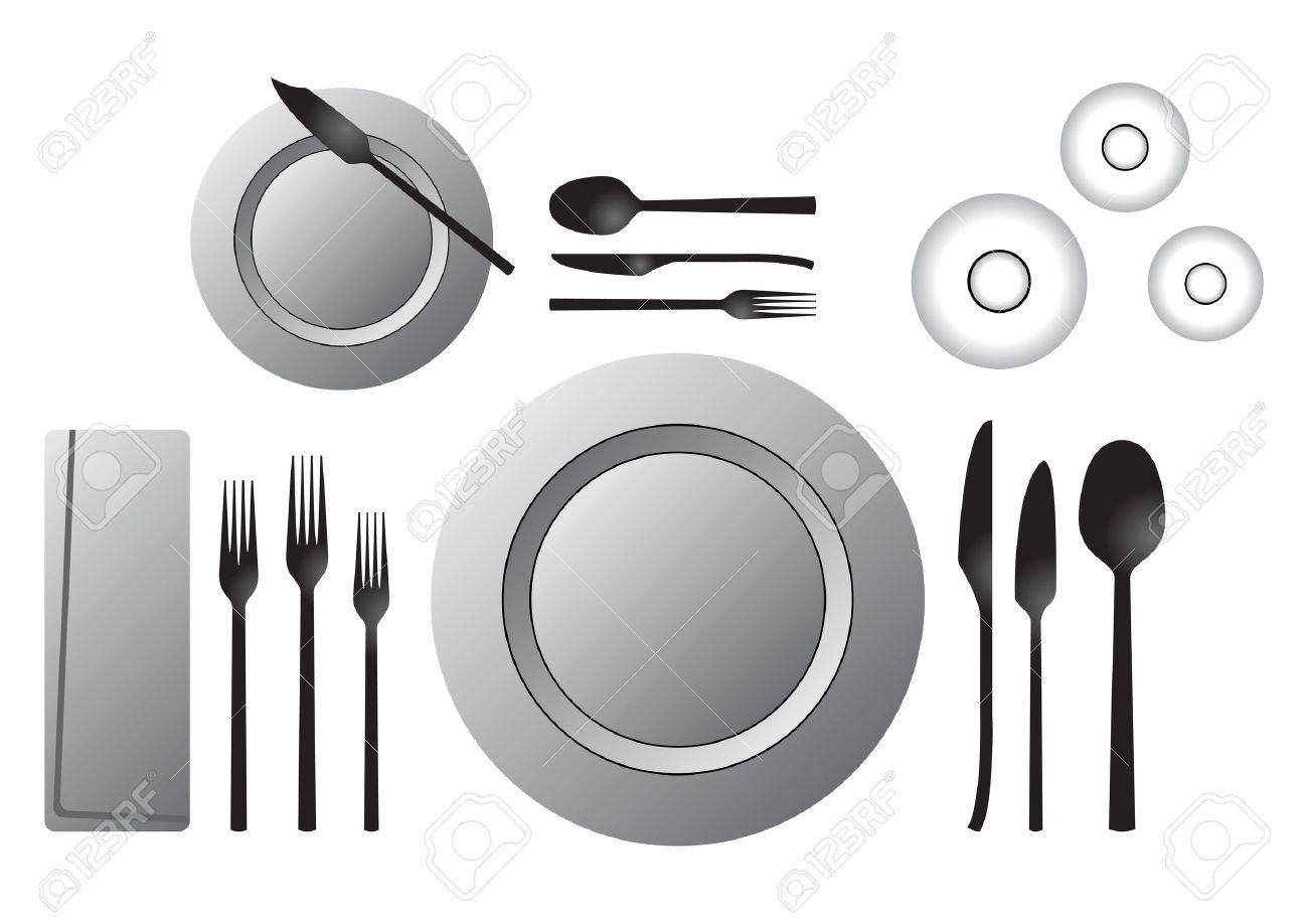 Etiquette. Formal table setting isolated over white background Stock Photo - 2744354  sc 1 st  123RF.com & Etiquette. Formal Table Setting Isolated Over White Background Stock ...