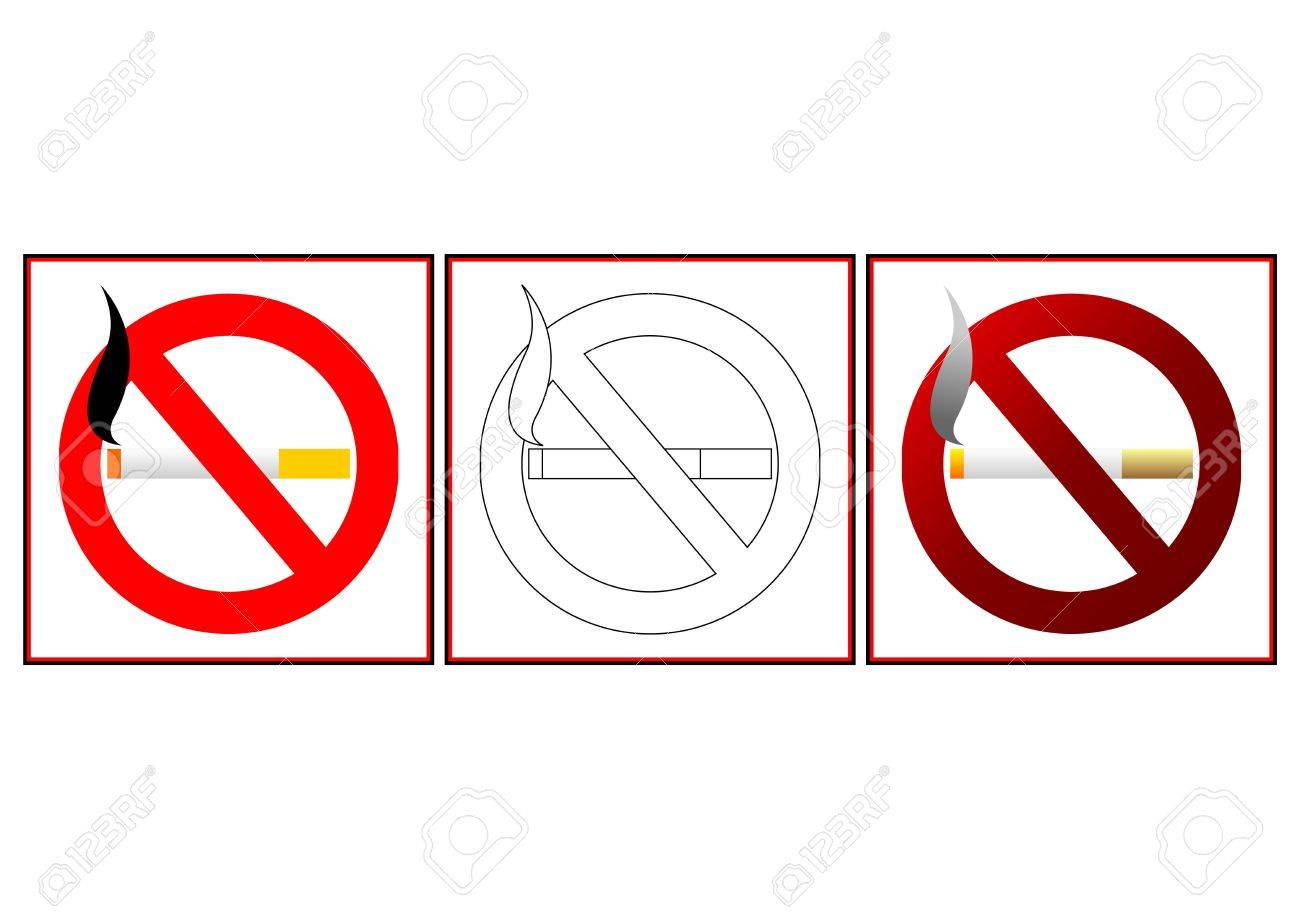 No Smoking Signs In Two Different Colors And Blank Template Stock ...
