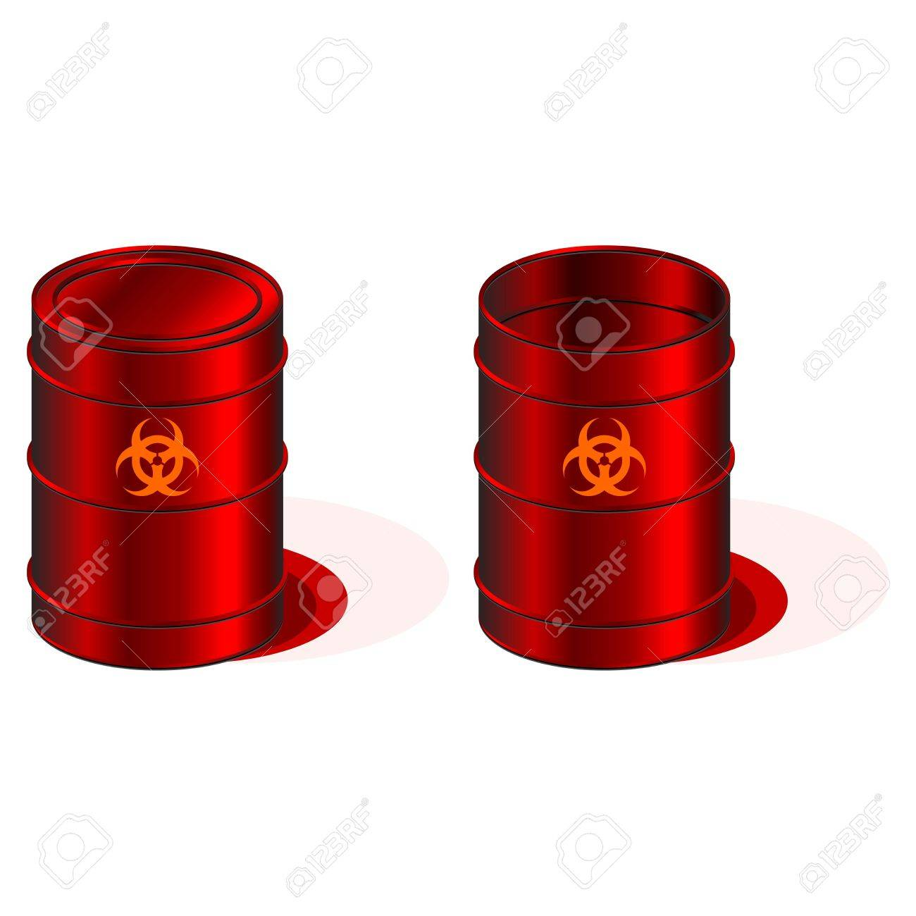 Open and closed barrels with biohazard symbol Stock Photo - 2946600