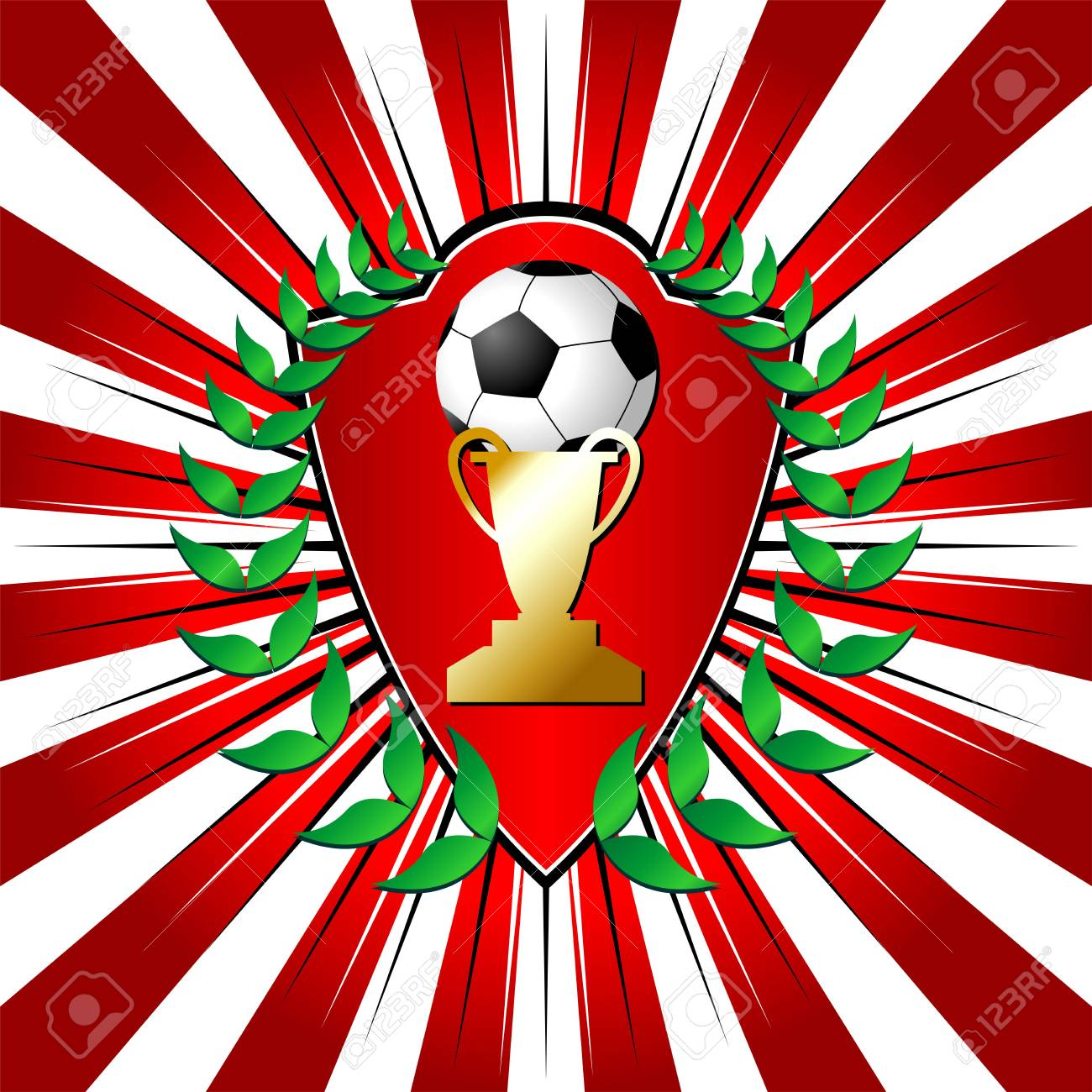 Soccer shield theme with laurel over striped background Stock Photo - 3170116