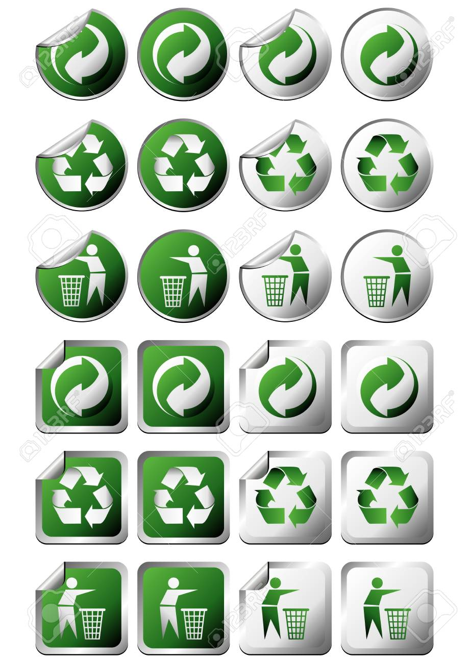Square And Round Recycle Symbol Stickers With And Without Curl Stock
