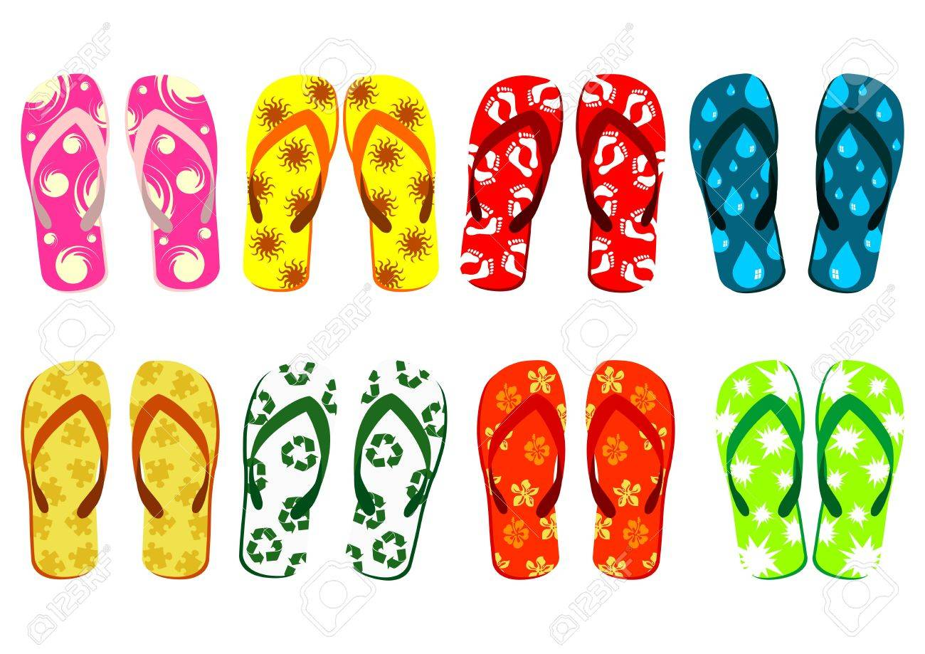 Beach sandals set. Different colorful flip-flops over white background Stock Photo - 3292793