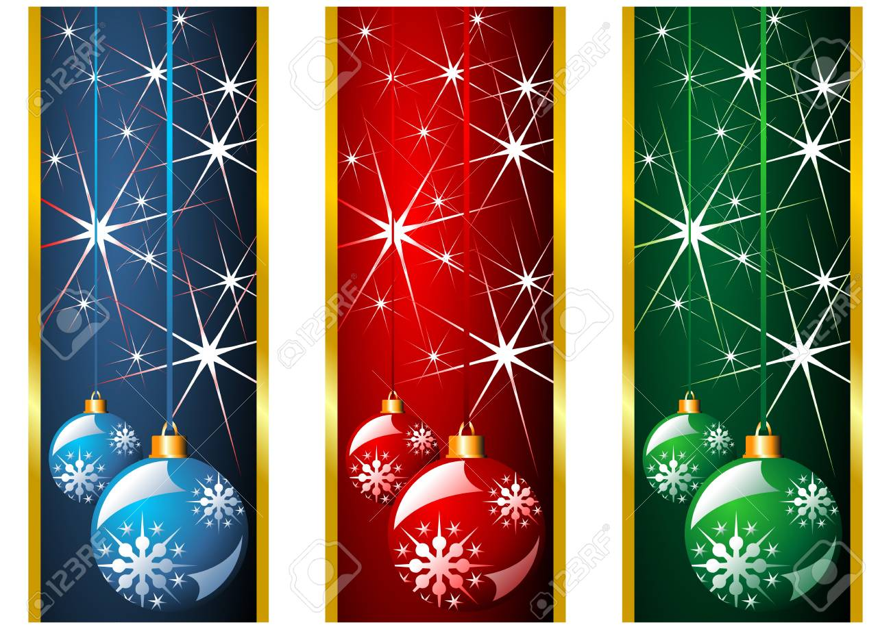 Different Christmas banners with snow crystals and balls Stock Photo - 3593602