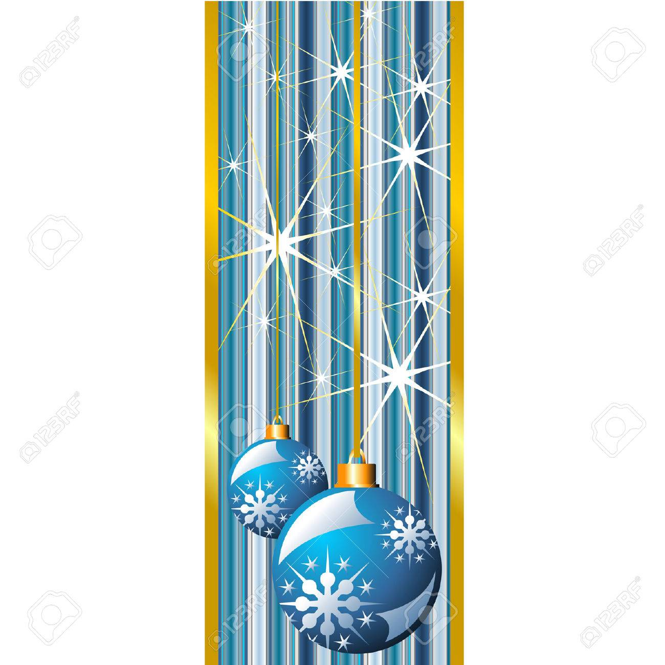 Blue Christmas banner with snow crystals and balls Stock Vector - 5327155