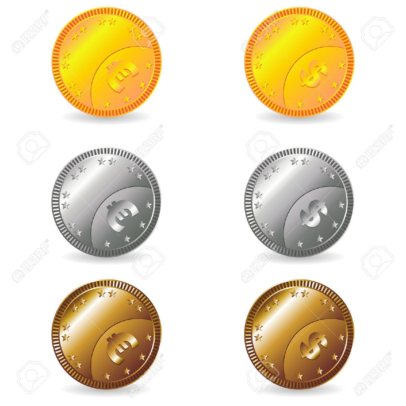 Fake euro and dollar gold silver and bronze coins set Stock Vector - 6026310
