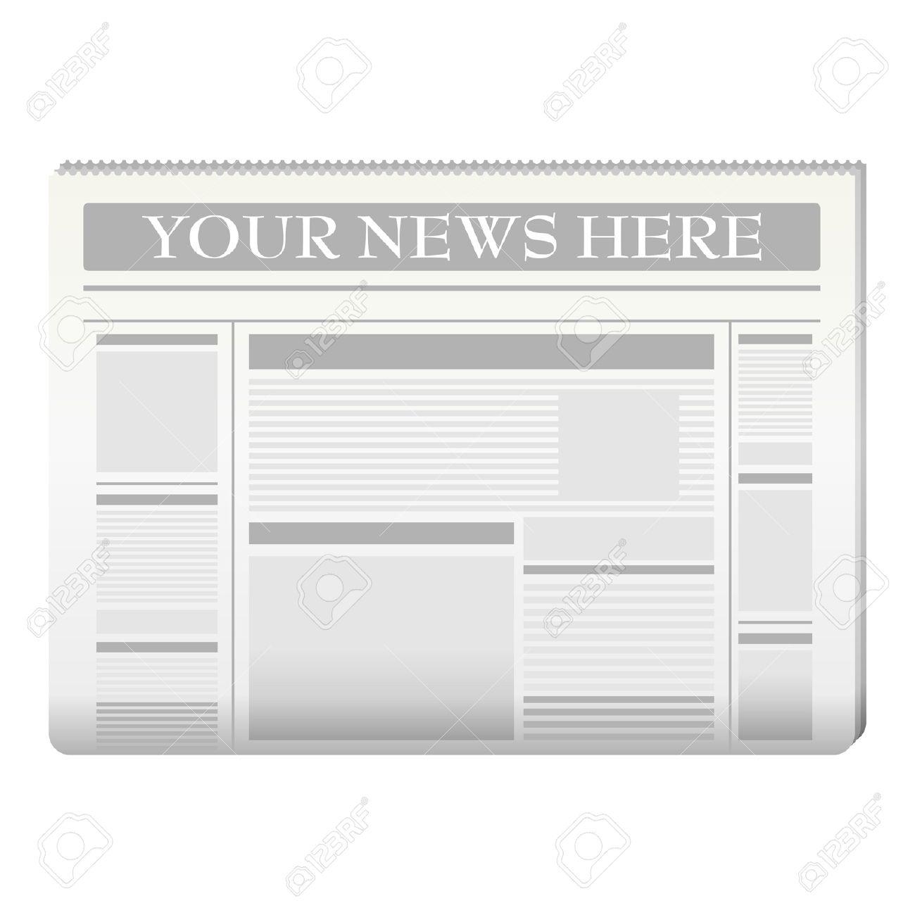 Plantilla De Periódico A Sus Propias Noticias Sobre Blanco ...
