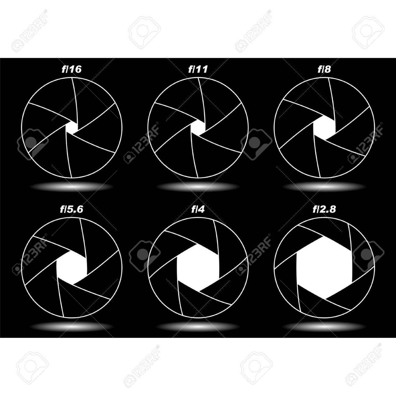 Different camera shutter apertures isolated over black Stock Vector - 7111630