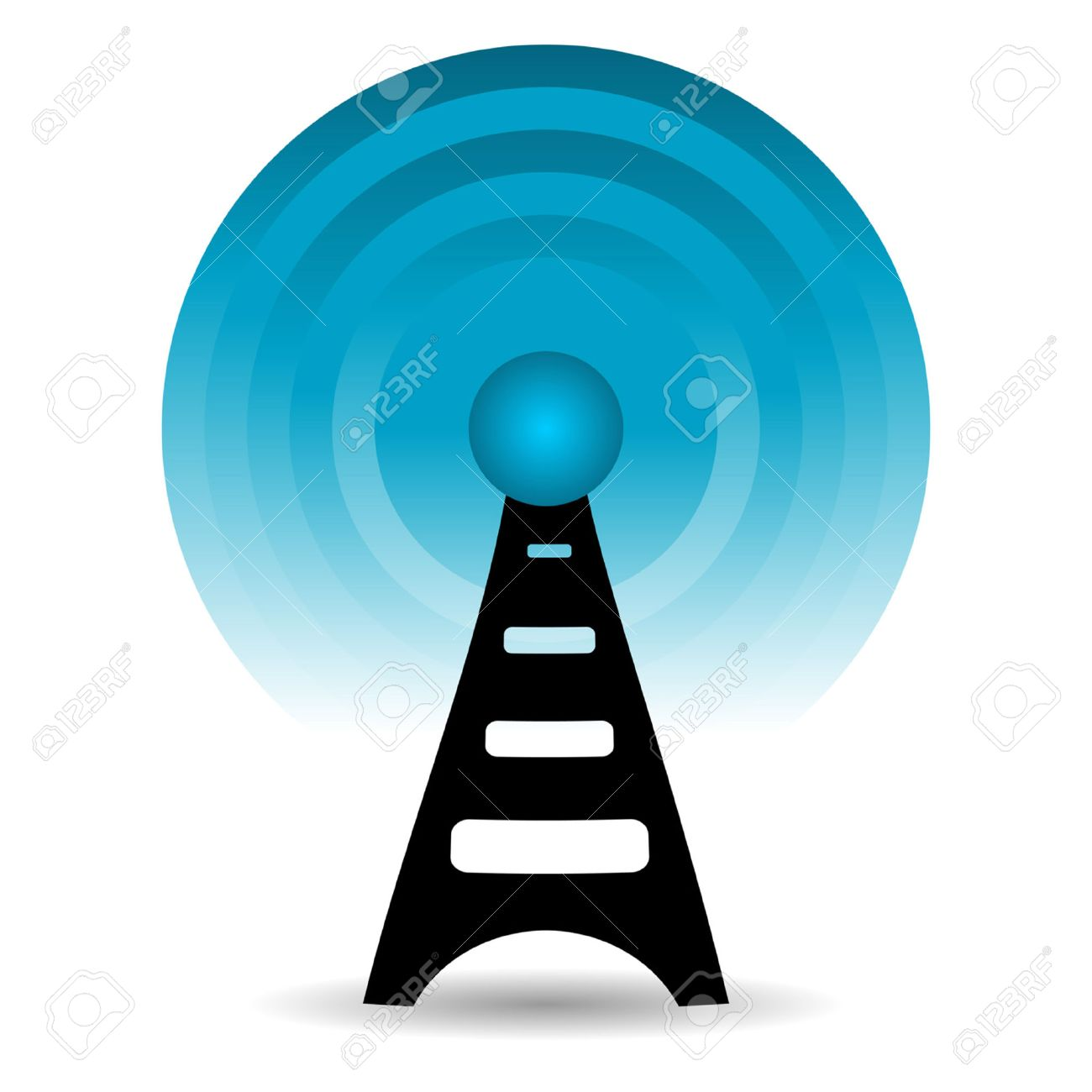 Antenna sending out signals over white background Stock Vector - 7135494