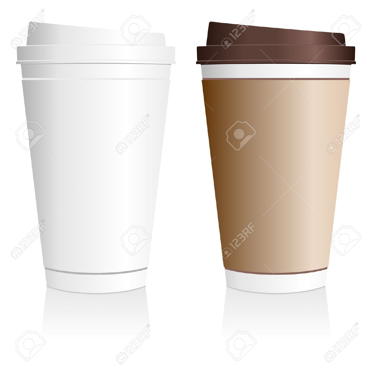 Plastic Coffee Cup Templates Over White Background Stock Vector