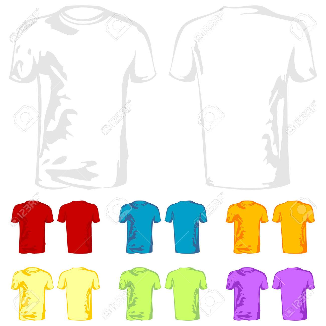 Design t shirt template free - T Shirt Templates With Different Color Samples Over White Royalty