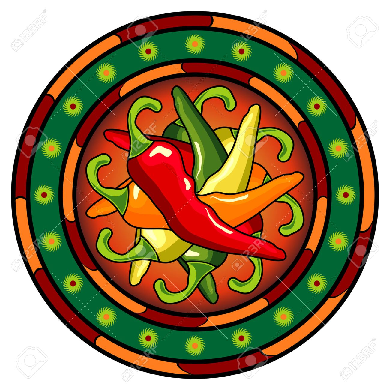 Mexican hot chili peppers logo over white background Stock Vector - 7423106