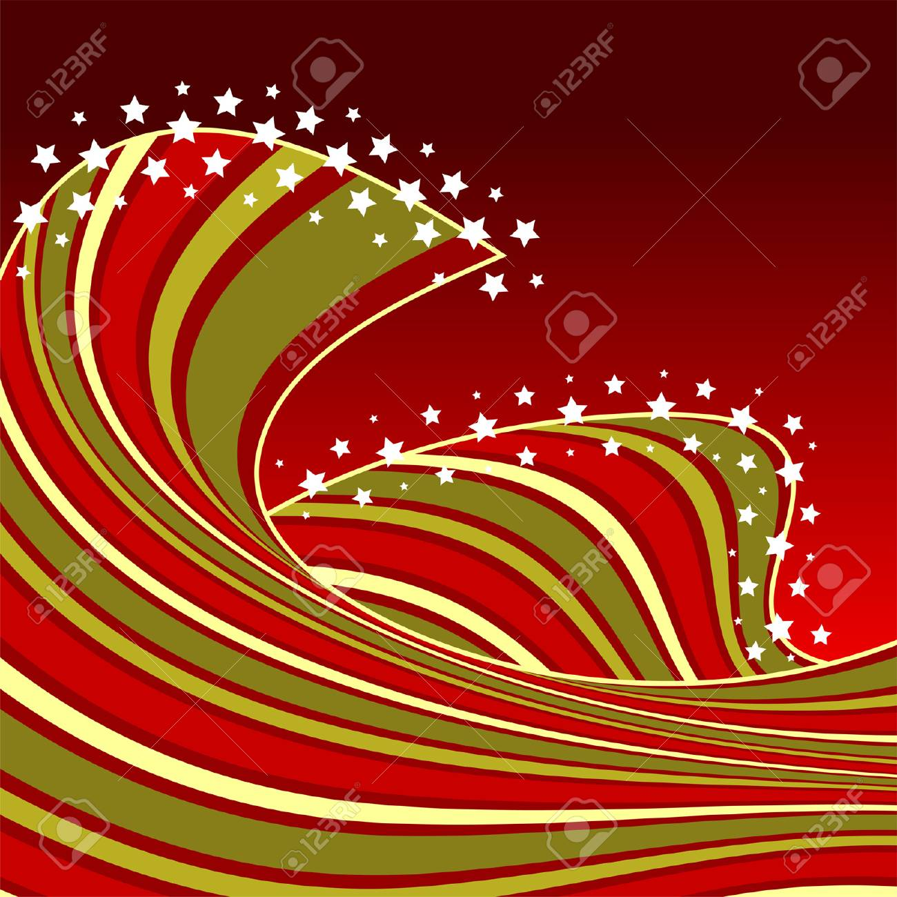 Abstract Christmas wave background with white stars Stock Vector - 7585046